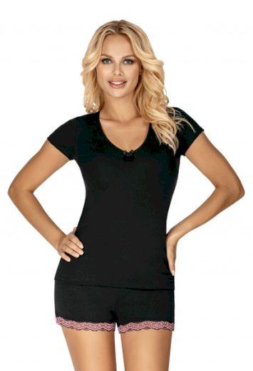 DONNA Dámské pyžamo CLARA černá barva  černá, velikost S