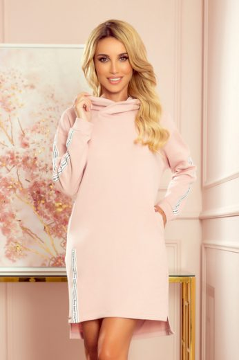NUMOCO Dámské šaty  322-2 barva staro růžová, velikost S