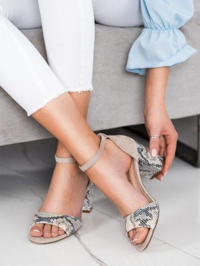 SERGIO LEONE Trendy hnědé  sandály dámské na širokém podpatku velikost 40