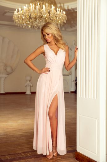 NUMOCO Dámské šaty 166-4 barva broskvová, velikost S