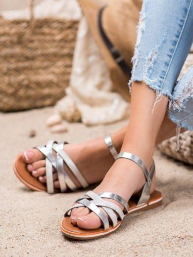 NIO NIO Designové šedo-stříbrné  sandály dámské bez podpatku velikost 36