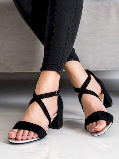 SERGIO LEONE Krásné  sandály dámské černé na širokém podpatku velikost 37