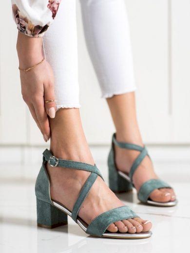 SERGIO LEONE Moderní modré dámské  sandály na širokém podpatku velikost 37
