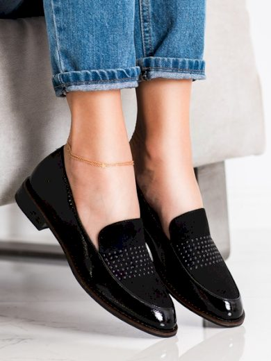 SERGIO LEONE Luxusní černé dámské  polobotky na plochém podpatku velikost 41