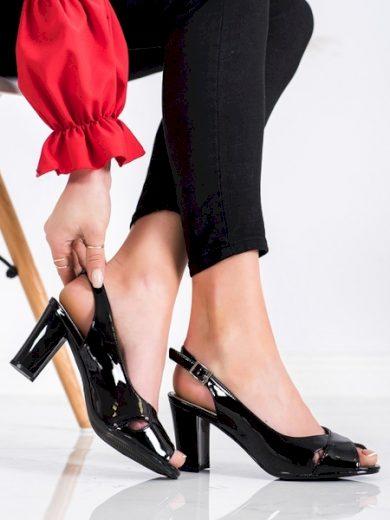 SERGIO LEONE Jedinečné dámské  sandály černé na širokém podpatku velikost 37