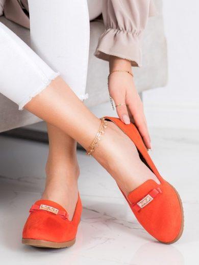 MISS LAURA Originální dámské  baleríny oranžové bez podpatku velikost 36