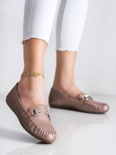 QUEENTINA Módní dámské zlaté  mokasíny bez podpatku velikost 36