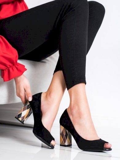 SERGIO LEONE Luxusní černé dámské  lodičky na širokém podpatku velikost 37