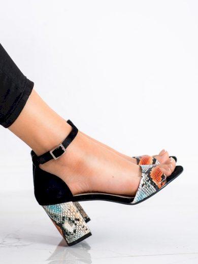 SERGIO LEONE Designové se zvířecím motivem dámské  sandály na širokém podpatku velikost 39