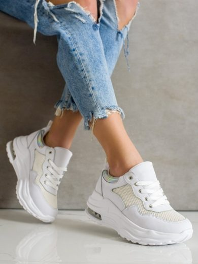 WEIDE Designové bílé dámské  tenisky bez podpatku velikost 36