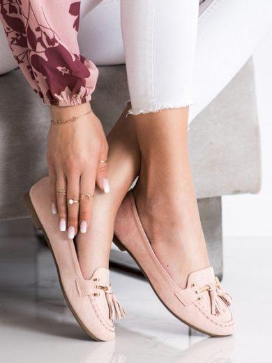KAYLA Stylové růžové  mokasíny dámské bez podpatku velikost 38