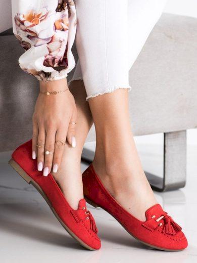 KAYLA Komfortní červené  mokasíny dámské bez podpatku velikost 36
