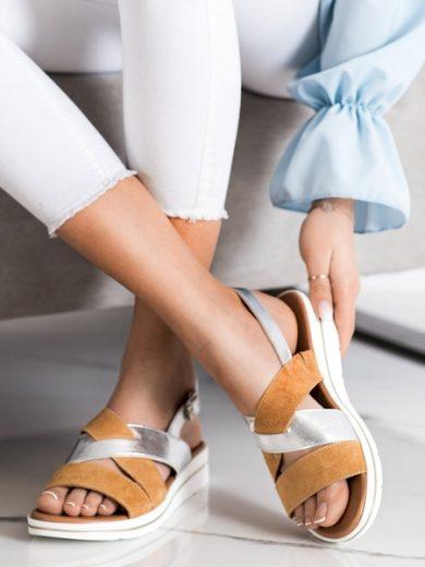 SERGIO LEONE Originální  sandály hnědé dámské bez podpatku velikost 36