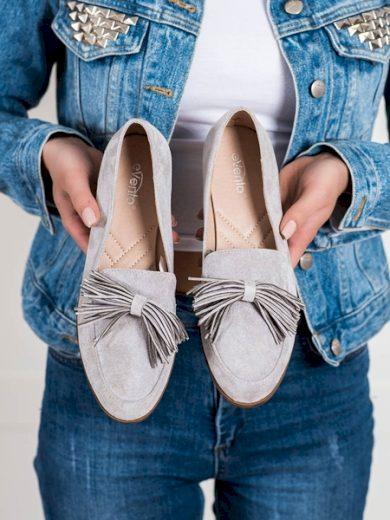 EVENTO Výborné šedo-stříbrné dámské  polobotky na plochém podpatku velikost 36