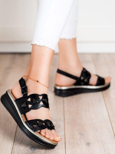 SERGIO LEONE Pohodlné  sandály dámské černé bez podpatku velikost 36
