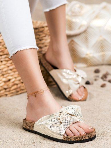 COMER Krásné dámské  nazouváky zlaté bez podpatku velikost 36