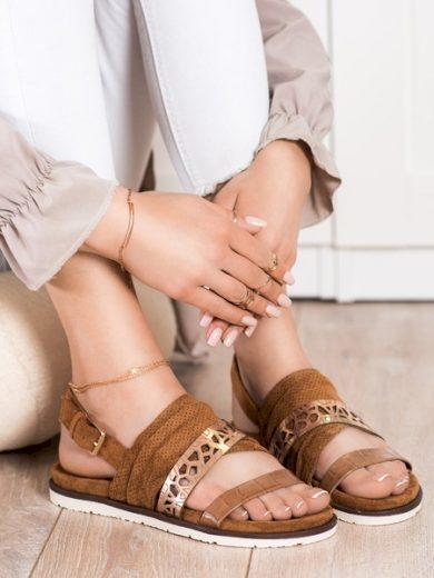 EVENTO Zajímavé  sandály hnědé dámské bez podpatku velikost 36
