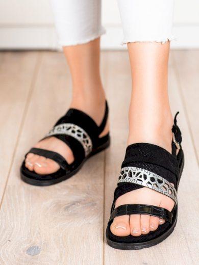 EVENTO Luxusní  sandály černé dámské bez podpatku velikost 36
