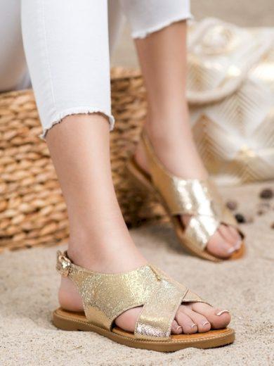 FILIPPO Exkluzívní  sandály zlaté dámské bez podpatku velikost 37