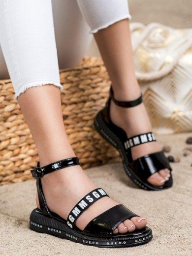FILIPPO Módní černé dámské  sandály bez podpatku velikost 36