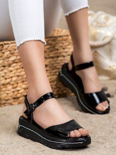 FILIPPO Pěkné dámské  sandály černé bez podpatku velikost 37