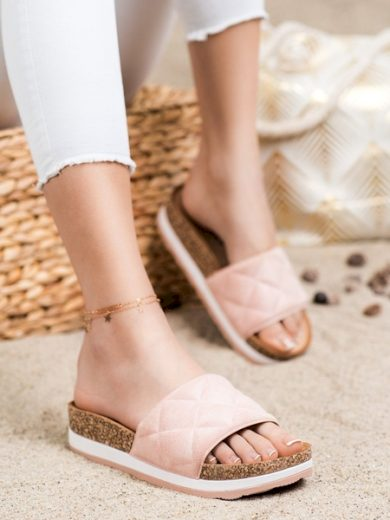 COMER Trendy růžové dámské  nazouváky bez podpatku velikost 36