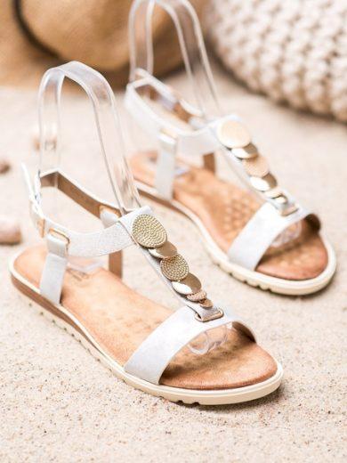 EVENTO Výborné bílé dámské  sandály bez podpatku velikost 36