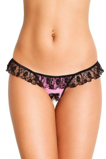 SOFTLINE COLLECTION Erotická tanga 2417 pink barva černo-růžová, velikost S/L