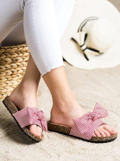 VINCEZA Klasické dámské červené  nazouváky bez podpatku velikost 36