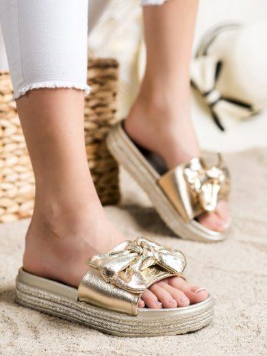 VINCEZA Exkluzívní  nazouváky zlaté dámské bez podpatku velikost 37