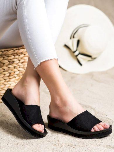 VINCEZA Exkluzívní  nazouváky dámské černé bez podpatku velikost 37