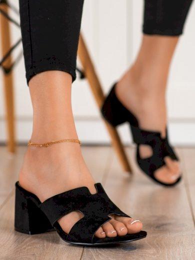 VINCEZA Módní  nazouváky černé dámské na širokém podpatku velikost 37