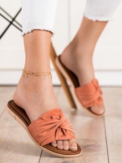 VINCEZA Trendy oranžové dámské  nazouváky bez podpatku velikost 36