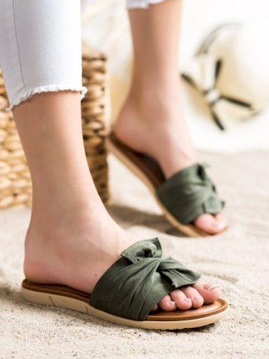 VINCEZA Módní zelené dámské  nazouváky bez podpatku velikost 36