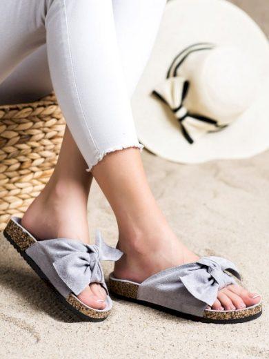 VINCEZA Klasické dámské šedo-stříbrné  nazouváky bez podpatku velikost 36