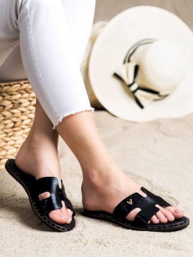 VINCEZA Praktické  nazouváky černé dámské bez podpatku velikost 36