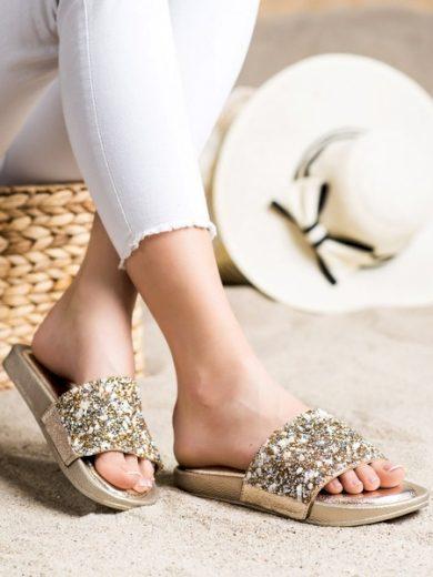 SMALL SWAN Klasické zlaté dámské  nazouváky bez podpatku velikost 36