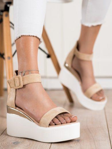 SMALL SWAN Designové hnědé  sandály dámské na klínku velikost 37
