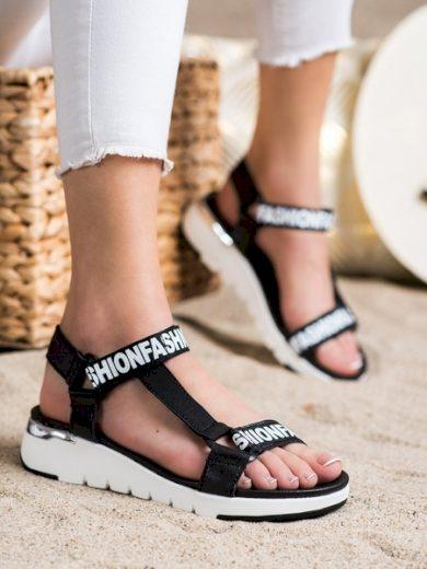 FILIPPO Luxusní černé dámské  sandály bez podpatku velikost 37