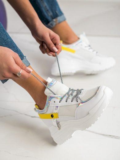 MARQUIZ Pohodlné  tenisky dámské bílé na klínku velikost 36