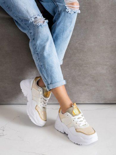 WEIDE Trendy dámské zlaté  tenisky bez podpatku velikost 36