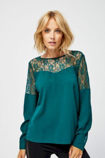 Moodo Košile dámská zdobená krajkou a dlouhým rukávem