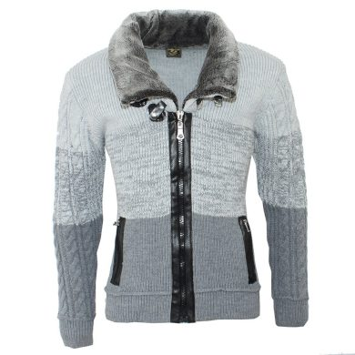 COMEOR pánský svetr 4554 na zip límec s kožíškem a přeskami
