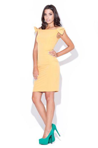 Žluté pouzdrové šaty Katrus K028