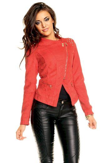 Červená bunda z umělé kůže Chic et Jeune