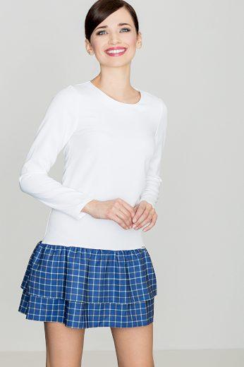 Šaty Lenitif K423 bílo-modré