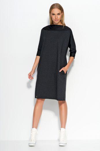 Dámské šaty Makadamia M317 tmavě šedý melír