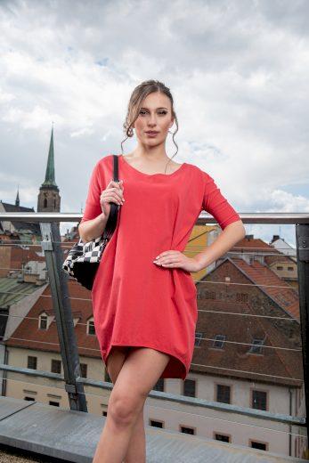 Dámské volnější šaty Sintimo s kapsami červené