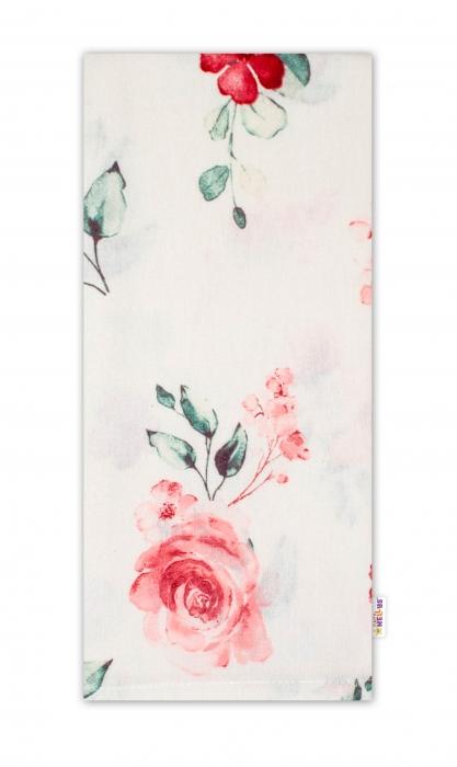 Flanelová plenka, 70x80cm Evelína - Květinky růžové - Baby Nellys