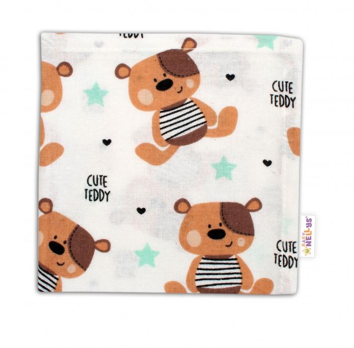 Mini flanelová plenka - Medvídek hnědý v bílé Cute Teddy - Baby Nellys